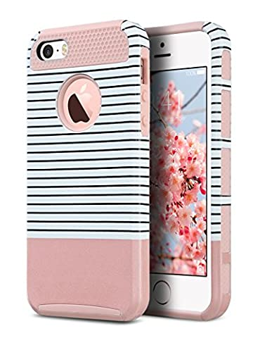 iPhone 5S Case, iPhone 5 Case,iPhone SE Case, ULAK Slim Fit Protection Case Shockproof Hard Rugged Ultra Protective Back Rubber Cover with Dual Layer Impact Protection(Minimal Rose Gold - Iphone 5 Phone Case