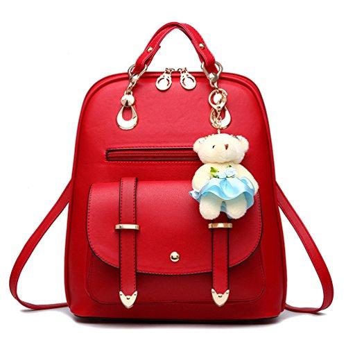 Saylla Mochila Moda para Mujer Niña Vendimia Mochila de cuero PU Bolsos Bandolera(Rosa Roja) Rojo
