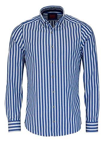 OLYMP Level Five Casual body fit Hemd Langarm Streifen blau