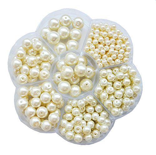 400+pcs Luster Glass Pearl Round Beads Assorted Sizes Lot / Jewelry Making Beads (Cream) ()