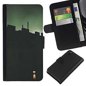 iBinBang / Flip Funda de Cuero Case Cover - Green Window Deep Meaning - Sony Xperia Z3 D6603 / D6633 / D6643 / D6653 / D6616