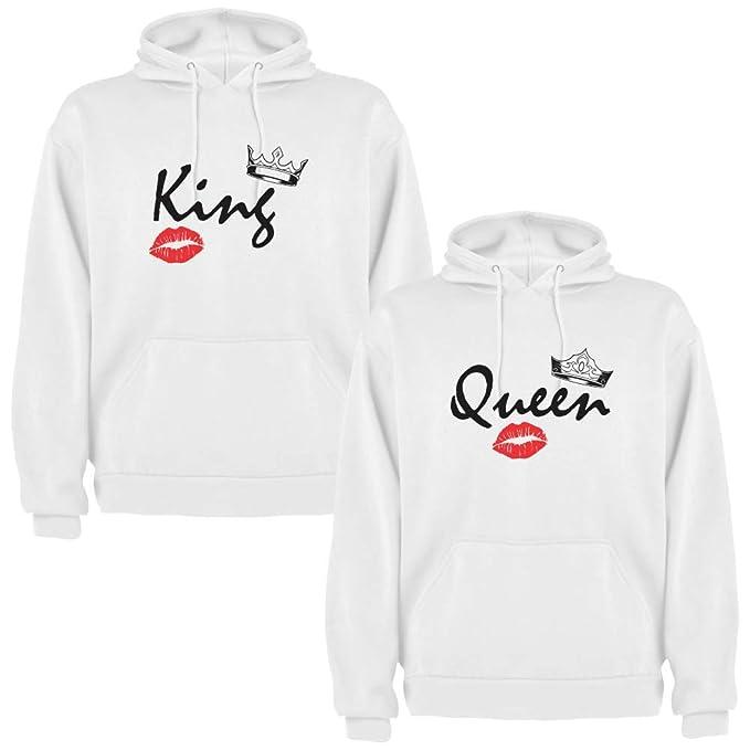 Pack de 2 Sudaderas Blancas para Parejas King B y Queen B Negro (Mujer Tamaño