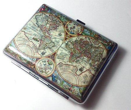 Vintage Antique Nova World Map Cigarette Case Wallet Card Holder
