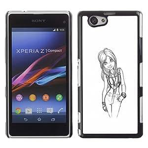 Chica doctor Sketch Negro Blanco Sexy- Metal de aluminio y de plástico duro Caja del teléfono - Negro - Sony Xperia Z1 Compact / Z1 Mini (Not Z1)