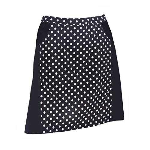 (Monterey Club Ladies Contrast Side Flurry Pull-on Knit Skort #2922 (Black/White, X-Large))