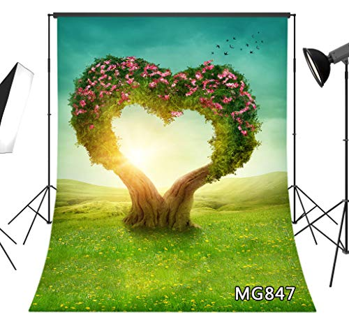 LB Spring Floral Backdrop 5x7ft Fabric Yellow Flower Green Grass Heart Tree Nature Photo Background for Wedding Birthday Party Portrait Photo Shoot Props,Washable