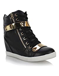 Fashion Thirsty Womens Wedge Concealed Heel High Tops Platform Sneakers Trainers Ankle Boots Shoes Size