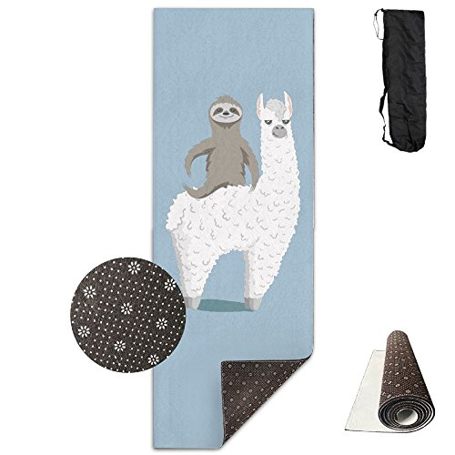 BOBIMU Non-slip Fashion-forward Sloth Riding Llama Printed Yoga Mat Aerobic Exercise Mat Pilates Mat Baby Crawling Mat With Carrying Bag Great For Man/Women/Baby by BOBIMU