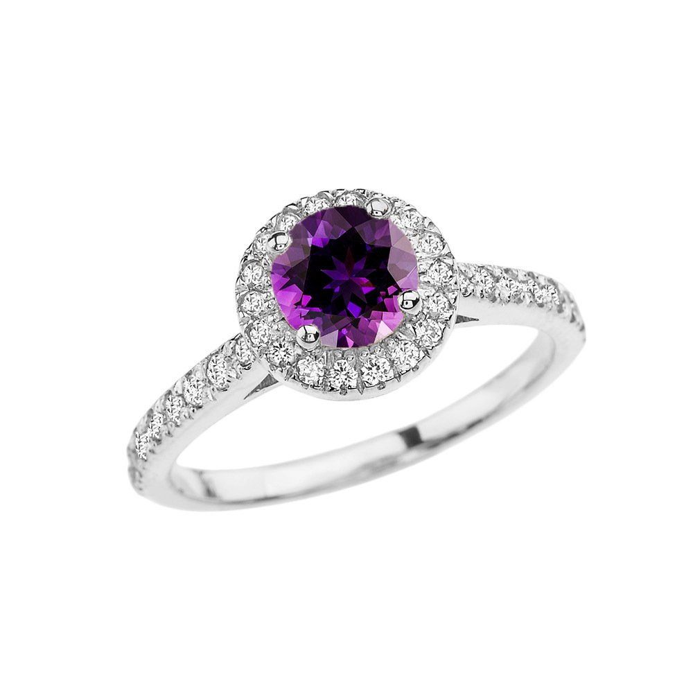 14k White Gold Diamond and Amethyst Engagement/Proposal Ring (Size 9.75)