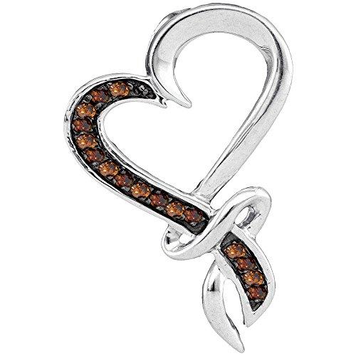 Sonia Jewels 10k White Gold Round Chocolate Brown Diamond Heart Love Pendant 1/10 Ctw