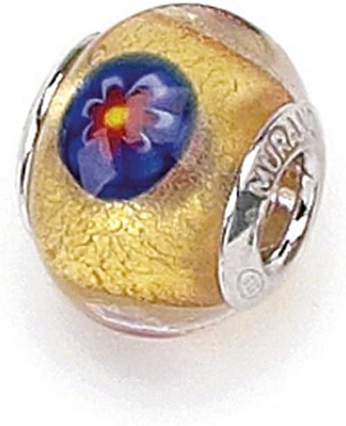 Daisy Chain Flower Flowers Glass Bead Beaded Bracelet Blue Purple Yellow Box
