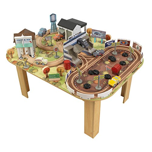 Disney KIDKRAFT Pixar Cars 3 Thomasville 70 Piece Wooden Track Set with Accessories and (Toddler Train Table)
