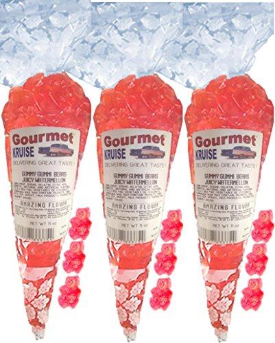 (Pink Gummy Bears Ripe Watermelon (3 Pack) Gummi (NET WT 33 OZ) Gourmet Kruise Signature Gift Bags)