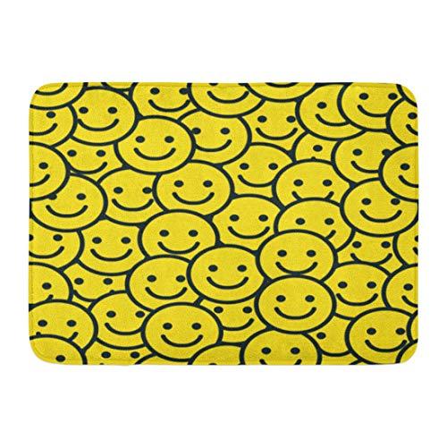 Emvency Doormats Bath Rugs Outdoor/Indoor Door Mat Pattern Yellow Smile Face Smiley Happy Fun Funny Love Bathroom Decor Rug 16