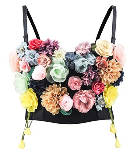 Bslingerie Madonna Style Metallic Studs Bustier Bra Corset Top (M, Floral)