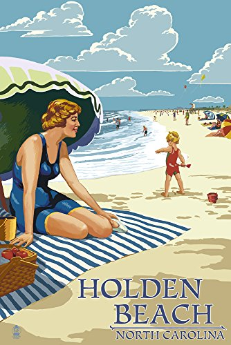 holden-beach-north-carolina-woman-on-beach-12x18-collectible-art-print-wall-decor-travel-poster
