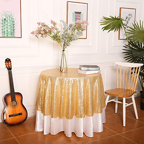 SquarePie Sequin Tablecloth Round Gold 50 Inch Sparkly Table Linen for Wedding Birthday Party Cake Dessert Table Christmas Decorations (Birthday Party Tablecloth Round)