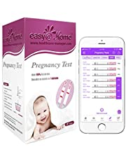 Easy@Home Pregnancy Test Strips Kit - 20 HCG Tests - Powered by Premom Ovulation Predictor iOS and Android APP, Home Urine Pregnant Strips Pregnancy Test Fertility Test