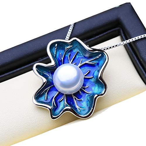 Pearl Jewelry Flower Pendant Natural Pearl Necklace Cloisonne Pearl Choker Pendant Women Enamel Pendant,Gray Pearl