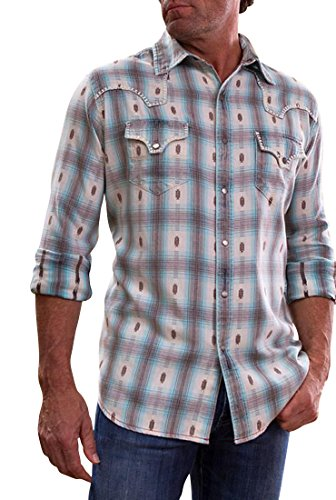Ryan Michael - Ombre Dobby Plaid with White Copper Snaps Western Shirt