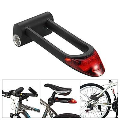 Ollieroo® Bike Lock High Security Alloy Steel U Lock with LED Bike Headlight and Taillight, 2 Keys