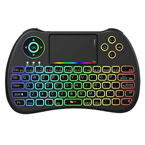 New! 2018 Rainbow Backlit 2.4GHz Mini Wireless Remote Keyboard and Mouse with Touchpad, USB Rechargeable with Li-ion Battery for Google Android TV Box, PC, HTPC, X-Box, Raspberry Pi 3 - Pro Multimedia Wireless Receiver