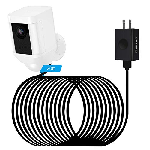 LANMU Power Adapter for Ring Spotlight Cam Battery,with 20ft Weatherproof Outdoor Power Cable Cord and Charger,No More Charging Your Camera Batteries (Black)