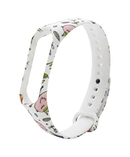Safeseed Waterproof Wrist Band Printed Strap for Xiaomi MI Band 3 Smart Activity Tracker -Printed Pattern(Only Strap - Chip not Included) (Flower White)