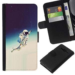 NEECELL GIFT forCITY // Billetera de cuero Caso Cubierta de protección Carcasa / Leather Wallet Case for Samsung Galaxy Core Prime // Espacio Astronauta Hipster