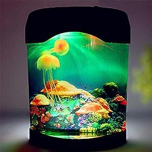 Maelu Colorful LED Jellyfish Tank Sea World Swimming Mood Lamp Desk Night Light Home Decorations For Living Room