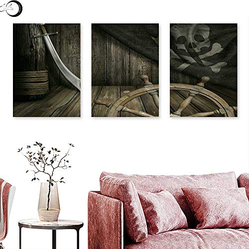 - J Chief Sky Ships Wheel Canvas Prints Wall Art Steering Wheel with Old Jolly Roger Flag and Saber in Pirates Ship Control Room Art Triptych Art Set Brown Triptych Art Canvas W 12