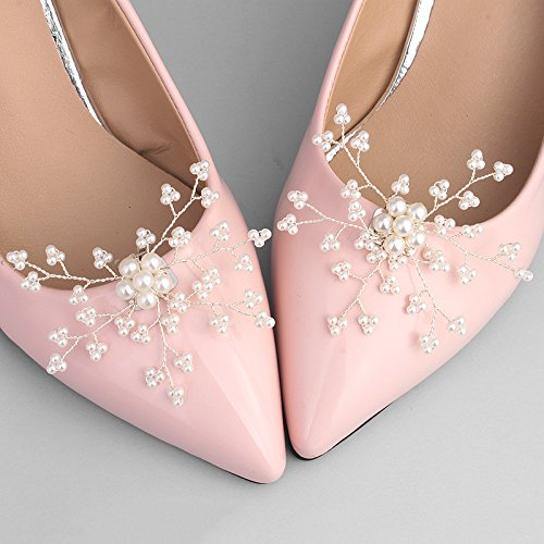 Kercisbeauty 2PCS Wedding Bridal Bridesmaids Pearl Flower Silver Shoe Clips High Heeled Shoes Dress Decoration Women Birthday Anniversary Party Prom Gift