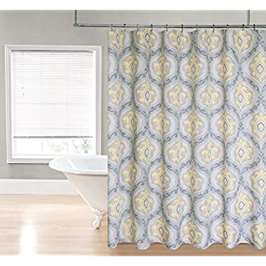 Regal Home Collections Ogee Damask Printed Fabric Shower Curtain, 70 by 72-Inch, Gold