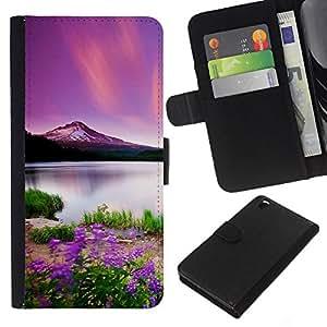 EJOY---Tirón de la caja Cartera de cuero con ranuras para tarjetas / HTC DESIRE 816 / --Hermosa Montaña Púrpura
