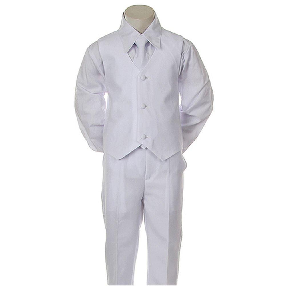 Angels Garment Boys Size 7 White Classic 5 Pc Set Tuxedo Suit