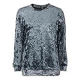 Hunzed Women Long Sleeve Pullover T Shirt Velvet Casual Blouse (XL, Black)