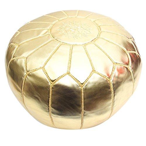 Atlas Moroccan Gold Metallic Pouf | Ottoman | Footstool