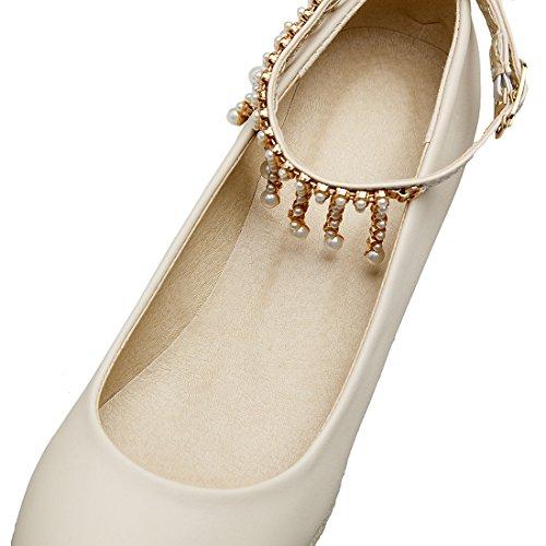 Talon a Beige Conforts Femmes Douce Bout Compensees Rond Strass Cheville Haut Chaussures avec Bride UH qwtgxaEx