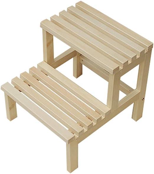 ladder stool Taburete de escaleras, Taburete de Madera Maciza para el hogar, Escalera de Dos peldaños, multifunción: Amazon.es: Hogar