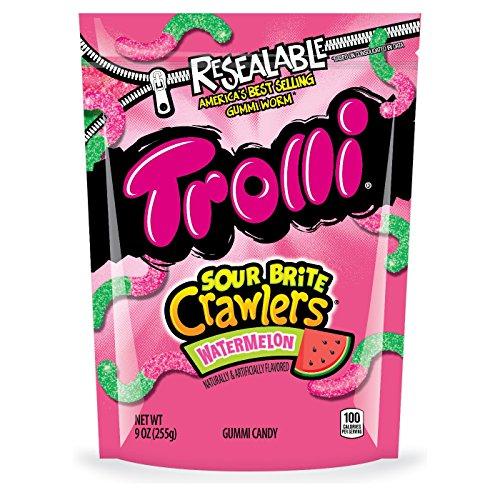 Gummy Melon (Trolli Sour Brite Crawlers Minis, Watermelon, Resealable 9 Ounce Bag)