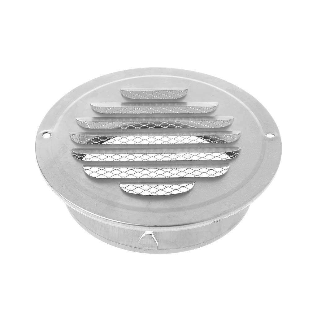 JOYKK Rejilla de ventilaci/ón de Aire de Pared Exterior de Acero Inoxidable de 70 mm Rejillas de ventilaci/ón Redondas para ductos Plateado