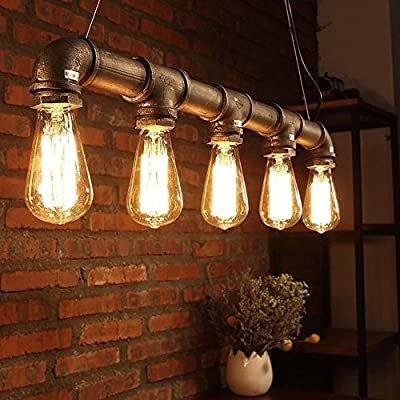 Sanyi Industrial Steampunk Ceiling Lamp Retro Rustic Chandeliers 5 Light Vintage Metal Water Pipe Pendant Lamp with Copper Finish for Dining Room Kitchen (bronze light no bulb)
