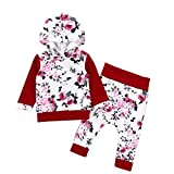 Ankola 2 PCS Autumn Winter Hoodie Set Toddler Baby Girls Floral Print Hooded Tops Pullover Pants Outfits Set (18M, White)