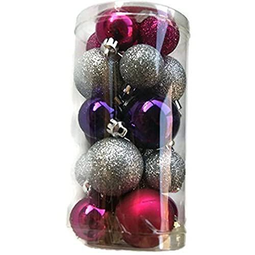 holiday time miniature christmas tree shatterproof ornaments pink silver purple 20 count - Purple Christmas Tree Ornaments