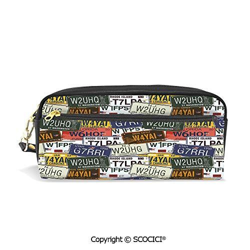 Girls Boys 3D Printed PU Pencil Case Holders Bag with Zipper Retro American Auto License Plates Utah Washington Rhode Island North Carolina Print Stationery Makeup Cosmetic Bags Back to ()