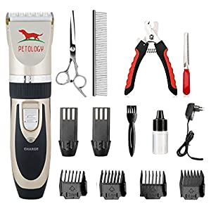 Petology Pet Hair Trimmer Professional Automatic Rechargeable with Extra Battery for Dog and Cat