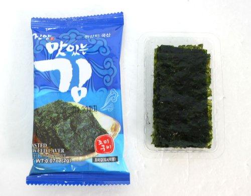 Mini Roasted Seasoned Seaweed 100 Packs/ Green Laver/ Yaki Nori, Picnic,snack by JinYang (Image #2)