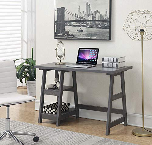 (Convenience Concepts 090107CGY Designs2Go Trestle Desk, Charcoal Gray)