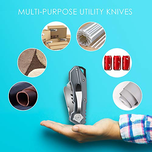 Pocket Utility Knife, MonoTurls Heavy Duty Box Cutter Folding Sharp Knives with Extra 6-Piece Blade, Portable String and Aluminum Body for Cutting Boxes, Cardboard, Wallpaper, Leather Etc Photo #7