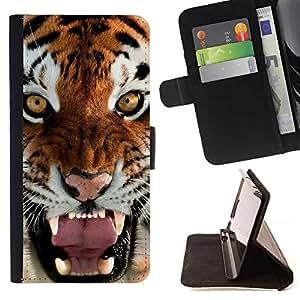Momo Phone Case / Flip Funda de Cuero Case Cover - Rugido del bostezo del tigre enojado felino gato grande - Sony Xperia M4 Aqua